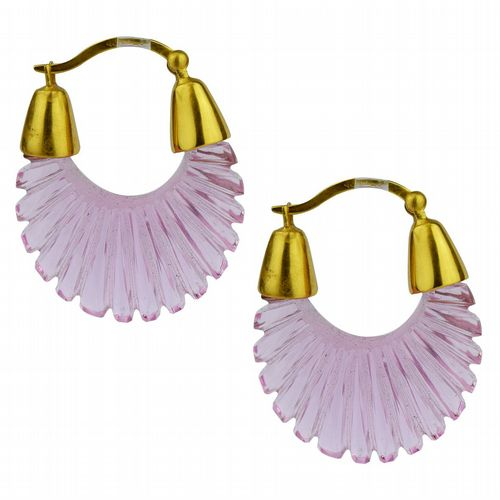Ettienne - Glass Hoop Earrings - Pink